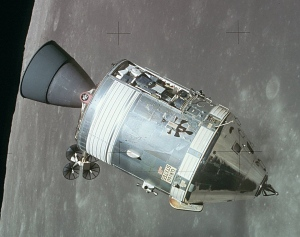 Apollo 15 Command and Service Modules in lunar orbit. NASA