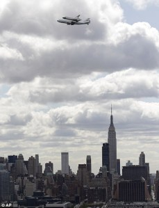 Enterprise flies over the Empire State Building