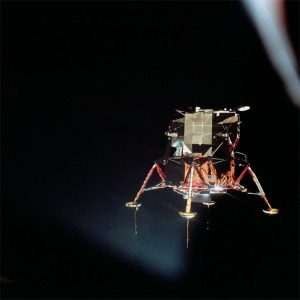 View of a lunar module against the blackness of space. This image was taken during separation of the lunar module and the command module during the Apollo 11 mission. NASA Photo.