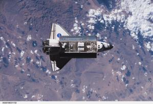 SPACEHAB sits in Endeavour's payload bay as the orbiter is docked to the ISS on STS-118. The SPACEHAB module on display at the Science Center is the one pictured in this photo.