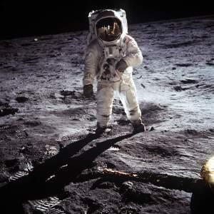 """Astronaut Neil A. Armstrong, Commander of Apollo 11, took this photograph of Lunar Module Pilot Edwin """"Buzz"""" Aldrin on July 20, 1969. NASA Photograph"""