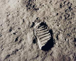 Buzz Aldrin's bootprint on the lunar surface during the Apollo 11 mission. NASA Photograph.
