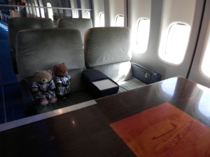 Original American Airlines first-class seats in the Shuttle Carrier Aircraft 905