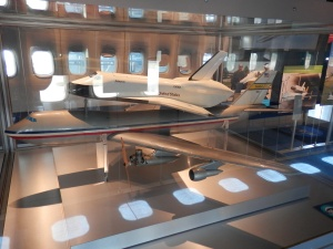Model of the shuttle and the shuttle aircraft carrier in the exhibit inside the Shuttle Aircraft Carrier 905
