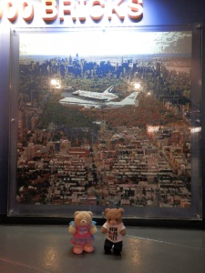 Lego mosaic (1.8m x 1.8m) of the Enterprise atop the Shuttle Carrier Aircraft as it soars over New York City