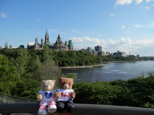 On Alexandra Bridge with Parliament Hill in the background