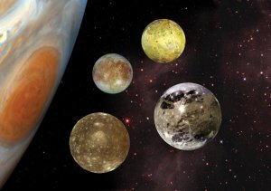 Jupiter has the most moons of any planet in the solar system at 67 confirmed. Galileo found the first four in 1610: Io, Europa, Ganymede and Callisto.