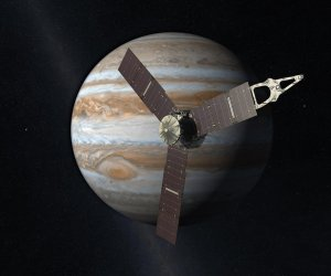 An artist's rendering of Juno flying by Jupiter. NASA/JPL-Caltech