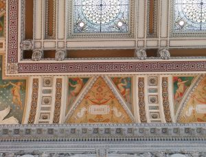 Library of Congress - Detail of ceiling and cove showing Dante plaque in the Great Hall