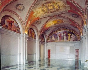 Library of Congress - North Corridor, Great Hall. Mosaic ceiling and Family mural in lunette at end of corridor, with Labor, Study, and Recreation murals on the left from the Family and Education series by Charles Sprague Pearce