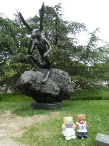 National Gallery of Art Sculpture Garden - Thinker on a Rock, by Barry Flanagan, 1997, cast bronze,