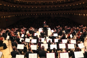Conductor James Levine with the Met Orchestra