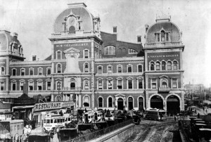Grand Central Depot, 1880 with horse-drawn carriages waiting to pick up arriving passengers