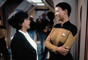 Dr Mae Jemison and Nichelle Nichols on set