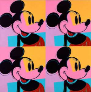 Andy Warhol, Quadrant Mickey Mouse, 1981 (sold at Christie's in 2015 for USD 4,533,000!!)