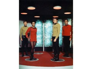 "The transporter (teleporting crew, from left, Hikaru Sulu, Nyota Uhura, Pavel Chekov and Scotty) first became operable—in ""Star Trek"" chronology—in the 22nd century. (AF Archive / Alamy)"