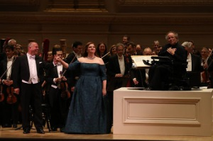 Tenor Stefan Vinke, soprano Christine Goerke and conductor James Levine with the Met Orchestra