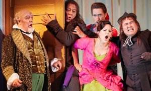 Royal Opera House, Il barbiere di Siviglia José Fardilha as Don Bartolo, Ferruccio Furlanetto as Don Basilio,  Vito Priante as Figaro, Daniela Mack as Rosina and Javier Camarena as Count Almaviva