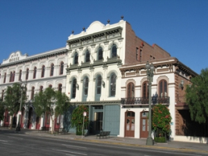El Pueblo de Los Angeles - Pico House (1869-70); Merced Theatre (1870) and Masonic Hall (1858)