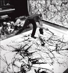 Jackson Pollock painting Autumn Rhythm: Number 30, 1950 - Photograph by Hans Namuth