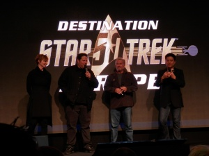 Martha Hackett (Seska, Star Trek Voyager), Eric Pierpoint (Kortar, Star Trek Voyager) and Garret Wang (Harry Kim, Star Trek Voyager)