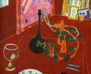 Objects on table (detail), The Red Studio, by Henri Matisse (1911)