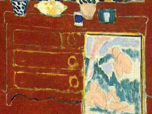 Painting and dresser (detail), The Red Studio, by Henri Matisse (1911)
