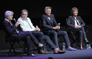 Angela Lansbury (Mrs. Potts), Richard White (Gaston), Robby Benson (The Beast), and Paige O'Hara (Belle) on stage at the Lincoln Center's Alice Tully Hall.