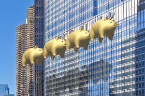 """Flying Pigs on Parade - a Chicago River folly,"" New World Design Ltd., November 2016"