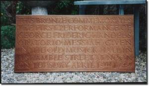 Memorial plaque for Messiah's first performance, Dublin