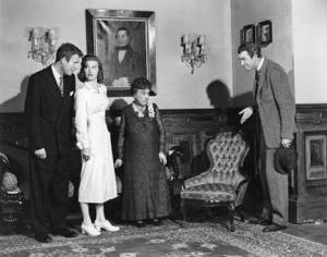 From the left, Charles Drake, Peggy Dow, Josephine Hull and James Stewart