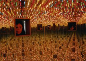 Yayoi Kusama, Installation view of Infinity Mirrored Room—Love Forever, 1994, in My Solitary Way to Death, Fuji Television Gallery, 1994. Wood, mirrors, metal, and lightbulbs. Collection of Ota Fine Arts. © Yayoi Kusama