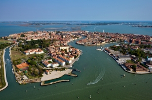 Aerial view of Murano Island and Venetian lagoon