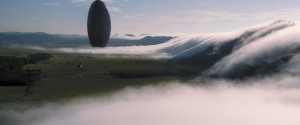 A giant alien spaceship that has landed in Montana in Arrival, Denis Villeneuve's film adaptation of a story by Ted Chiang