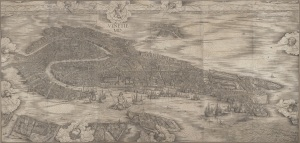 Photo of Jacopo de' Barbari's woodcut, the Map of Venice.  Google Art Project
