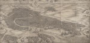 Photo of Jacopo de' Barbari's woodcut, the Map of Venice.  Google Art Project