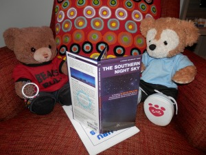 Little Puffles (with his dream catcher) and Jay are checking out the story of the southern night sky
