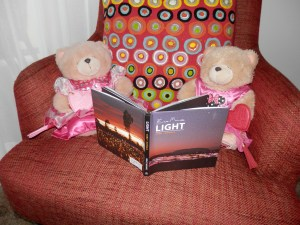 Little Honey and Isabelle are reading up on the Field of Light, the installation by Bruce Munro