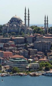 The mosque of Suleyman the Magnificent occupies a commanding position over the old city of Istanbul.