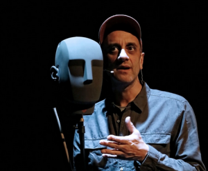 Richard Katz with the head-shaped microphone which picks up sounds from all directions
