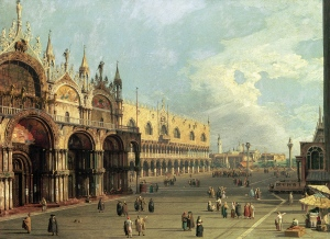 Old Master painter Canaletto immortalized St. Mark's Square and other early 18th-century Venetian scenes with his detailed oil landscapes, known as vedute.