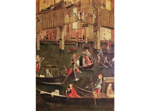 "Detail of Vittore Carpaccio's painting ""Miracle of the Relic of the True Cross on the Rialto Bridge"" shows inclined ramps on the original wooden bridge circa 1496"