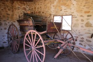 Horse-drawn buggy in the buggy shed - Alice Springs Telegraph Station
