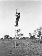 Jack Laver, Bob Carew up a pole of the Overland Telegraph Line, 1921. (State Library of South Australia)
