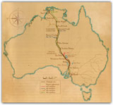 The routes of Stuart's expeditions to find a way across the continent from south to north and the eventual route of the Overland Telegraph. (Guy Holt)